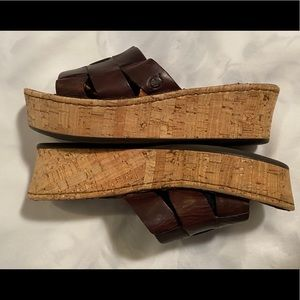 BORN Brown Leather Cork Wedge Slides Sandals 8